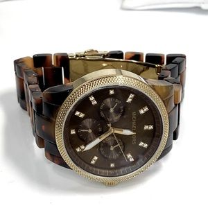 Auth MICHAEL KORS Brown Acrylic Gold Plated Watch